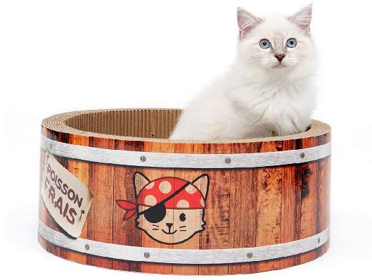 Griffoir Pirates Catit Play en forme de baril, avec herbe à chat, grand