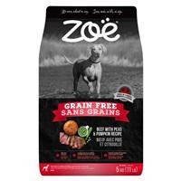 Aliment Zoë Sans grains pour chiens, Bœuf avec pois et citrouille, 5 kg (11 lbs)