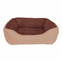 Lit douillet piqué DreamWell Dogit, rectangle, beige et brun, 60 x 51 x 23 cm (24 x 20 x 9 po)