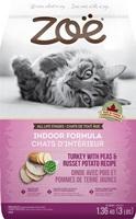Aliment Zoë pour chats d'intérieur, Dinde avec pois et pois et pommes de terre jaunes, 1,3 kg