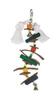 Brochette Junglewood Living World avec chevilles en bois, boules en plastique, bandelettes en cuir et clochette