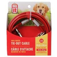 Câble d'attache Dogit pour chiens de grande taille, rouge, 7,6m (25pi)