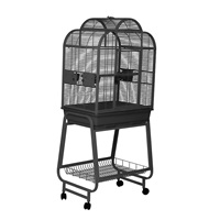 Cage HARI  à toit ouvrant pour perroquets, noir et gris argenté antique, L. 68 x l. 51 x H. 154 cm (27 x 20 x 60 po)