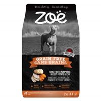 Aliment Zoë Sans grains pour chiens, Dinde avec citrouille et pommes de terre jaunes, 2 kg (4,4 lbs)