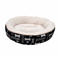 Lit douillet Oxford DreamWell Dogit, rond, motif Woof, noir, diam. 53 cm (21 po)