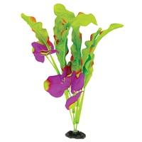 Plante à feuilles gaufrées Naturals Marina en soie, indigo et vert, grande, 33-35,5cm (13-14po)