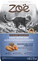Aliment Zoë pour chats, Alimentation quotidienne, Poulet avec patate douce et quinoa, 1,3 kg