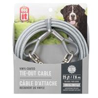 Câble d'attache Dogit pour chiens de très grande taille, transparent, 7,6m (25pi)