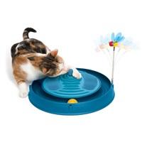 Circuit 3 en 1 avec balle, bandes de massage et herbe à chat Catit Play, bleu, 36 cm (14 po)