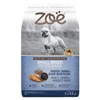 Aliment Zoë pour chiens adultes de petite race, Poulet, quinoa et haricots noirs, 2 kg