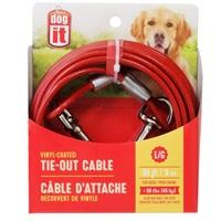 Câble d'attache Dogit pour chiens de grande taille, rouge, 9 m (30pi)