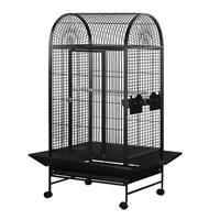 Cage HARI à toit en dôme pour perroquets, noir et gris argenté antique, L. 71 x l. 56,5 x H. 158 cm (28 x 22 x 62 po)
