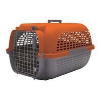 Cage Voyageur Dogit pour chiens, base anthracite avec dessus orange, moyenne, L.56,5xl.37,6xH.30,8cm (22x14,8x12po)