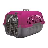 Cage Voyageur Dogit pour chiens, base anthracite avec dessus fuchsia, moyenne, L.56,5xl.37,6xH.30,8cm (22x14,8x12po)