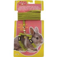 Ensemble laisse et harnais réglable Living World pour lapin nain, vert, laisse de 1,2m (4pi)