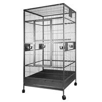 Cage HARI  à toit plat pour perroquets, noir et gris argenté antique, L. 99 x l. 99 x H. 190 cm (39 x 39 x 75 po)