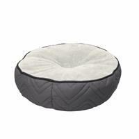 Coussin-lit piqué DreamWell Dogit, rond, gris et blanc, diam. 50cm (19,5 po)