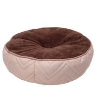 Coussin-lit piqué DreamWell Dogit, rond, beige et brun, diam. 50cm (19,5 po)