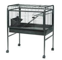 Cage prête-à-monter Living World pour lapin, gris argenté antique, petite, L. 80 x l. 50,1 x H. 95,8 cm (31 x 19 x 37 po)