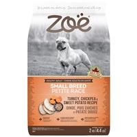 Aliment Zoë pour chiens adultes de petite race, Dinde, pois chiches et patate douce, 2 kg