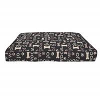 Matelas-lit Oxford DreamWell Dogit, rectangle, motif Woof, noir, 73 x 51 x 7,6 cm (29 x 20 x 3 po)