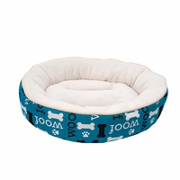 Lit douillet Oxford DreamWell Dogit, rond, motif Woof, bleu, diam. 53 cm (21 po)