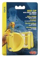 Auget à graines Living World avec perchoir, miroir et crochets, 30 g (1 oz)