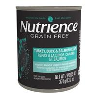 Pâté Nutrience SubZero Sans grains pour chiens, Repas à la dinde, canard et saumon, 374g