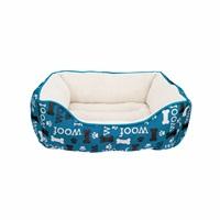 Lit douillet Oxford DreamWell Dogit, rectangle, motif Woof, bleu, 60 x 51 x 23 cm (24 x 20 x 9 po)