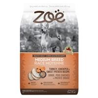 Aliment Zoë pour chiens adultes de moyenne race, Dinde, pois chiches et patate douce, 5 kg