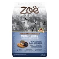 Aliment Zoë pour chiens adultes de moyenne race, Poulet, quinoa et haricots noirs, 5 kg