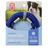Câble d'attache Dogit pour chiens de taille moyenne, bleu, 4,6 m (15 pi)