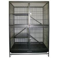 Cage Living World pour furet, fini martelé gris, L. 93 x l. 60 x H. 131 cm (36 x 23 x 51 po)