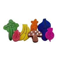 Jouet à gruger Nibblers Living World en bois, morceaux en formes de fruits et de légumes