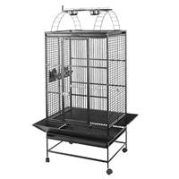 Cage HARI à toit avec aire de jeu pour perroquets, noir et gris argenté antique, L. 76 x l. 61 x H. 178 cm (30 x 24 x 70 po)