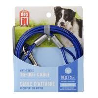 Câble d'attache Dogit pour l'extérieur pour chiens de taille moyenne, bleu, 3m (10pi)