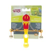 Jouet de cirque Living World avec balance pour oiseaux, rouge et jaune