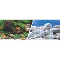 Arrière-plan réversible Marina, jardin aquatique/pierres blanches, 30,5cm x 7,6m (12po x 25pi)