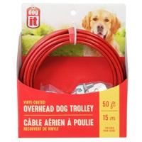 Câble aérien à poulie Dogit pour chiens, rouge, 15 m (50 pi)
