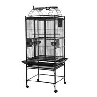 Cage HARI à toit avec aire de jeu pour perroquets, noir et gris argenté antique, L. 61 x l. 56 x H. 162 cm (24 x 22 x 64 po)