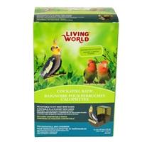 Baignoire avec couvercle transparent Living World pour perruches calopsittes, base brune et dessus topaze