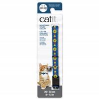 Collier réglable à dégagement rapide Catit en nylon, bleu avec fleurs jaunes, 20-33 cm (8-13 po)