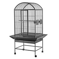 Cage HARI à toit en dôme pour perroquets, noir et gris argenté antique, L. 71 x l. 56 x H. 159 cm (28 x 22 x 62,5 po)