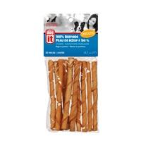 Bâtonnets torsadés Dogit en peau de bœuf badigeonnée, saveur de poulet et de fromage, 10mm x 12,5cm (0,4 x 5po), 80g (2,8oz), paquet de 10
