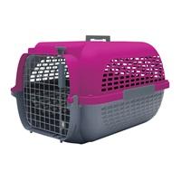 Cage Voyageur Dogit pour chiens, base anthracite avec dessus fuchsia, petite, L. 48,3 x l. 32,6 x H. 28 cm (19 x 12,8 x 11 po)