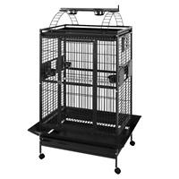 Cage HARI à toit avec aire de jeu pour perroquets, noir et gris argenté antique, L. 91 x l. 71 x H. 174 cm (36 x 28 x 68,5 po)
