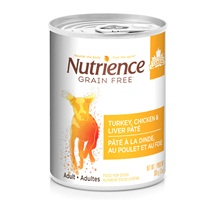 Pâté Nutrience Sans grains pour chiens, Dinde, poulet et foie, 369g (13oz)