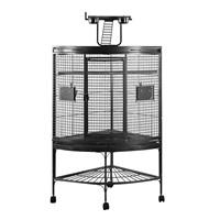 Cage HARI de coin à toit avec aire de jeu pour perroquets, noir et gris argenté antique, L. 94 x l. 66 x H. 159 cm (37 x 26 x 62,5 po)