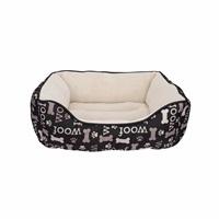 Lit douillet Oxford DreamWell Dogit, rectangle, motif Woof, noir, 60 x 51 x 23 cm (24 x 20 x 9 po)