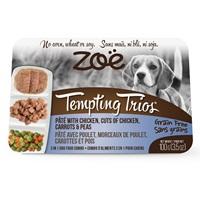 Pâté Tempting Trios Zoë avec poulet, morceaux de poulet, carottes et pois, 100 g (3,5 oz)